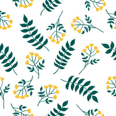 Tapeta Natural seamless pattern with tansy plant and leaves. Forest yellow flowers. Vector scandinavian style illustration.