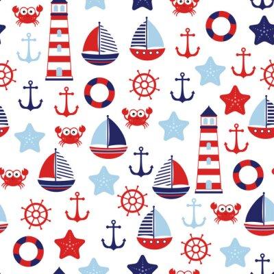 Tapeta nautical baby marine pattern