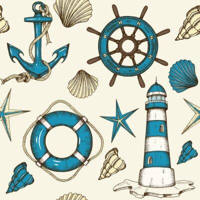 Tapeta Nautical bezszwowych wzór z kotwicy i wyciągnąć wektor, latarnia morska, muszle, koło ratunkowe i koła. Naszkicować. Latem vintage wzór może być używany do tapety, tło strony internetowej, tekstury po