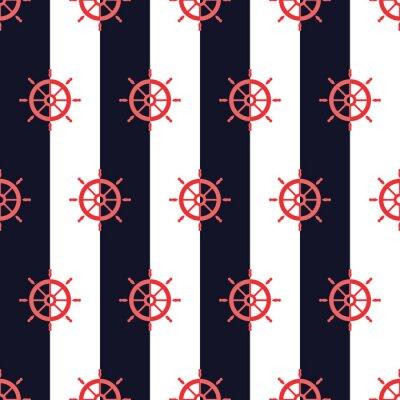 Tapeta Nautical pattern, Seamless vector illustration with ship steering wheels