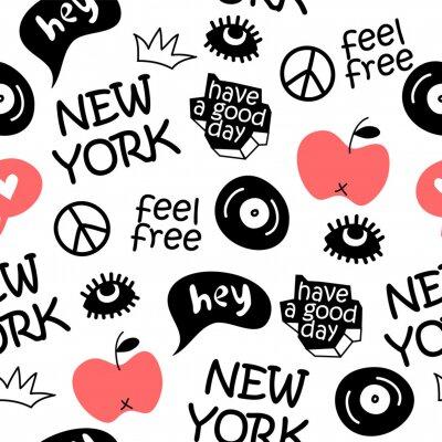 Tapeta new york hand drawn vector seamless pattern