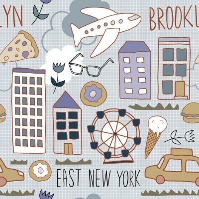 Tapeta New York pattern seamless design graphic