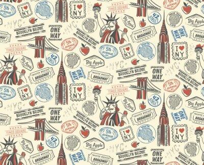 Tapeta New York pattern seamless design illustration