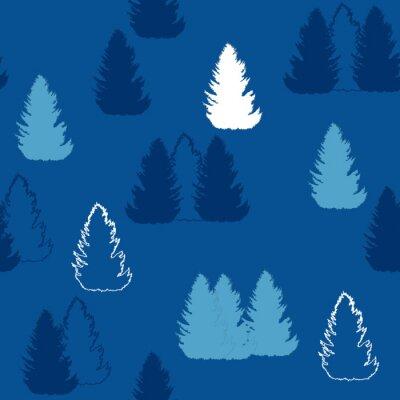 Tapeta niebieski świerk forrest wzór