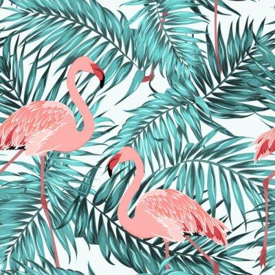 Tapeta Niebieski turkusowy tropikalnych dżungli lasów deszczowych palmy liści. Różowa egzotyczna para ptaków flamingowych. Jasny karmazynowy dziób i pióro. Bez szwu deseń tekstury na białym tle.
