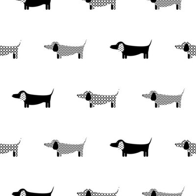 Tapeta Niemiecki badger-dog sylwetka bez szwu wektor monochromatycznych deseń. Czarno-białe wzorzyste puppy jamnik rasy tła dla druku tkaniny włókienniczej i tapetę.
