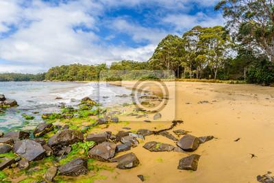 Niesamowity widok na wspaniałą rajską wyspę piaszczystą plażę z turkusową niebieską wodą i zielonym lasem dżungli na ciepłe słoneczne czyste niebo relaksujący dzień, South Cape Track, Recherche Bay, T