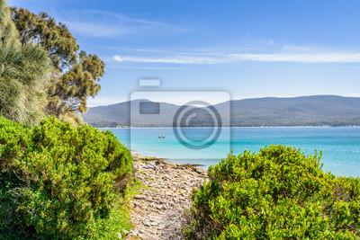 Niesamowity widok na wspaniałą rajską wyspę piaszczystą plażę z turkusową niebieską wodą i zielonym lasem dżungli na ciepłe słoneczne jasne niebo relaksujący dzień, Fluted Cape Track Bay, Bruny Island