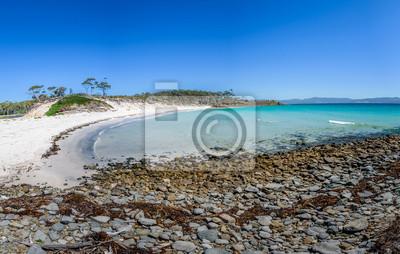 Niesamowity widok na wspaniałą rajską wyspę piaszczystą plażę z turkusową wodą i zielonym lasem dżungli na ciepłe słoneczne czyste niebo relaksujący dzień, Park Narodowy wyspy Marii, Tasmania, Austral