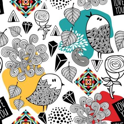 Tapeta Nieskończony wzór z doodle ptaków i elementów abstrakcyjnych.