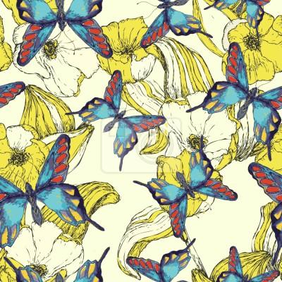 Tapeta Ocean Kwiatów I Motyle
