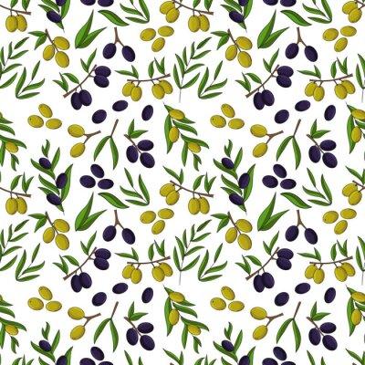 Tapeta Olives seamless pattern. Vector illustration for design, web and decor