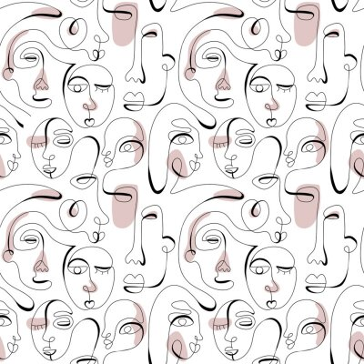 Tapeta One line drawing abstract face seamless pattern. Modern minimalism art, aesthetic contour. Continuous line background with woman and man faces. Vector group of people