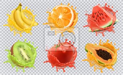 Tapeta Orange, owoce kiwi, banan, pomidor, arbuz, sok z papai. Świeże owoce i plamy, 3d zestaw ikon wektorowych