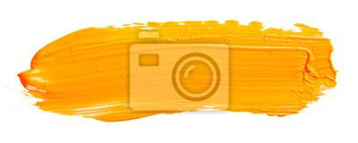 Tapeta Orange yellow brush stroke isolated on white background. Orange abstract stroke. Colorful watercolor brush stroke.