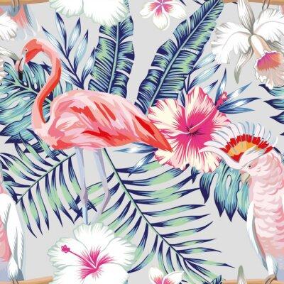 Tapeta Orchidea hibiskusa Flaming Parrot wzór światło