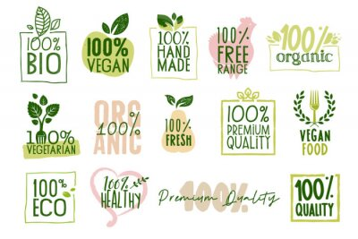 Tapeta Organic food, farm fresh and natural products labels and badges collection. Vector illustration for food market, e-commerce, restaurant, healthy life and premium quality food and drink promotion.