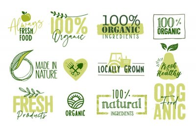 Tapeta Organic food, farm fresh and natural products signs and labels collection. Vector illustration for food market, e-commerce, restaurant, healthy life and premium quality food and drink promotion.