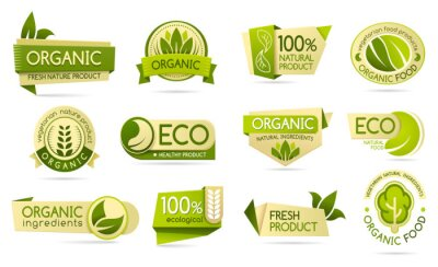 Tapeta Organic food labels, eco and bio natural products