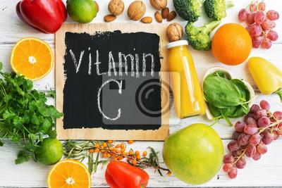Tapeta Owoce i warzywa z witaminą C. Zdrowa żywność o wysokiej zawartości witaminy C. Widok z góry, narzut.