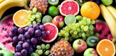 Tapeta Owoce organiczne. Pojęcie zdrowego odżywiania. Widok z góry