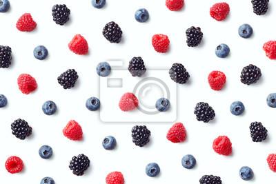 Owocowy wzór kolorowe dzikie jagody