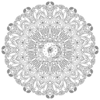 Tapeta Ozdobne koło na białym tle. Kwiatowy mandala