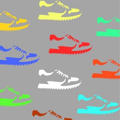 Tapeta oznaki butów na szarym tle