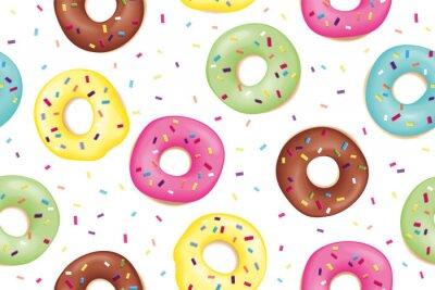 Tapeta Pączek. Wzór słodcy kolorowi donuts. Ręcznie rysowane wzór wzór pączki. Deser, ciasto, pączki projekt dla menu, reklama, plakat, sztandar kawiarnia, piekarnia, Wektorowa ilustracja