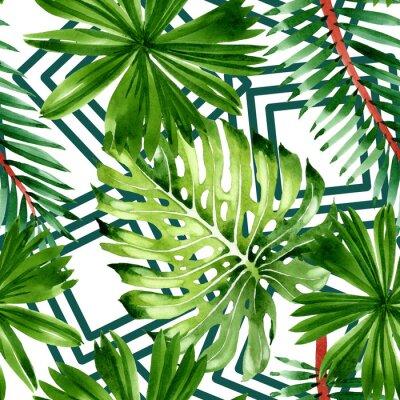 Tapeta Palm beach tree leaves jungle botanical. Watercolor background illustration set. Seamless background pattern.