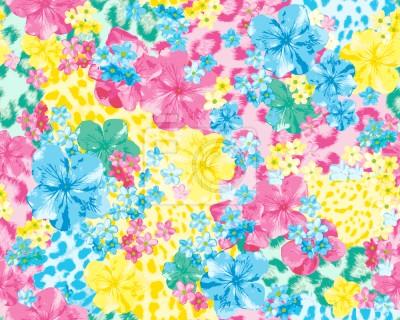 Tapeta Pantery Ukrywa W Kwiatowym Łóżku