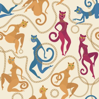 Tapeta Panther and lion with in gold jewelry, chains, rings, bracelet, belt, corset seamless pattern on light beige background . Dancing female bodies of different race and figure type. Body positive batik p