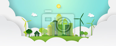 Tapeta Paper art of green eco city and nature landscape in paper layers background template vector illustration.