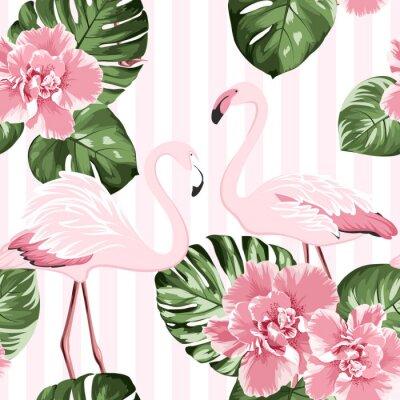 Tapeta Para egzotycznych różowych flamingów ptaków. Jasne kwiaty camelia. Tropikalne liście monstera zielone. Modny wzór.