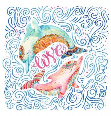 Tapeta Para wodorostów uroczy delfiny samodzielnie na białym tle.