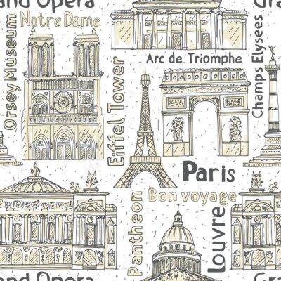 Tapeta paris orientacyjne bez szwu wektora deseniu. ręcznie rysowane tła