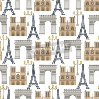 Tapeta Paris vector famous travel cuisine traditional modern france culture europe eiffel fashion design architecture symbols illustration. Famous travel love Paris seamless pattern background.