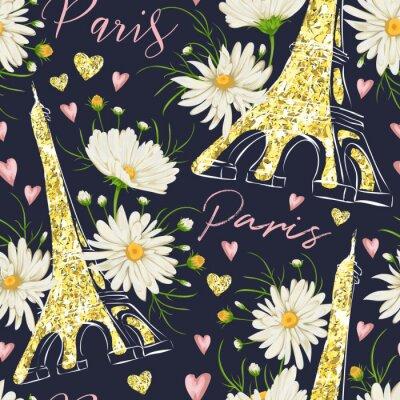 Tapeta Paryż. Archiwalne bez szwu deseń z wieży Eiffla, serca z folią złota brokat tekstury i kwiaty rumianku. Retro ręcznie rysowane ilustracji wektorowych.