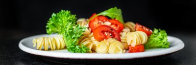 Tapeta pasta salad tomato vegetables lettuce healthy snack gluten free ingredient vitamin portion on the table serving healthy meal snack top view copy space for text food background