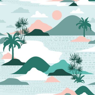 Tapeta Pastel and sweet  silhouette of palm tree,beach,mountain on modern paper cut style seamless pattern vector design for fashion,fabric,and all prints