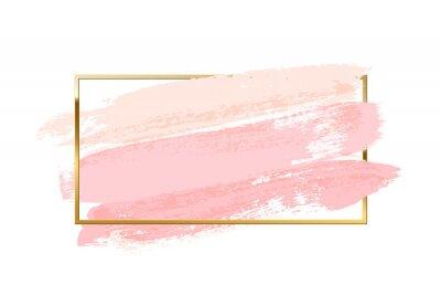 Tapeta Pastel pink brush strokes with rectangle golden frame isolated on white background. Vector design element.
