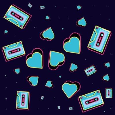 Tapeta pattern cassettes tape of nineties icon