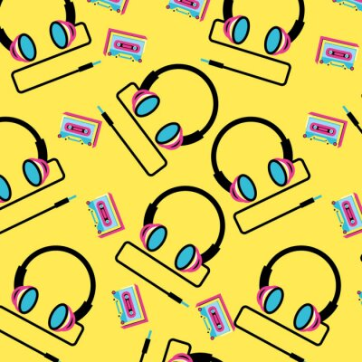 Tapeta pattern headphone with cassette tape of nineties