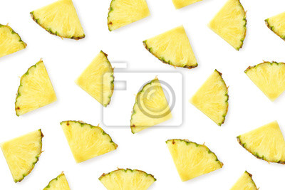 Tapeta Pattern of pineapple slices isolated on white background