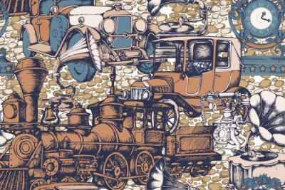 Tapeta  Pattern of vintage train and other items from 1900. Vector illustration. Suitable for fabric, wrapping paper and the like