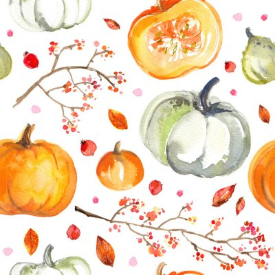 Tapeta Pattern Pumpkins painted with watercolors on white background