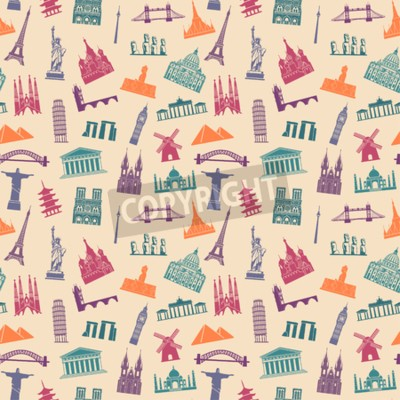 Tapeta Pattern with architectural monuments and world tourist attractions