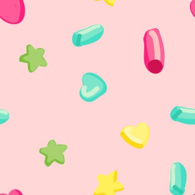 Tapeta Pattern with hearts, stars and circles. Seamless vector background.