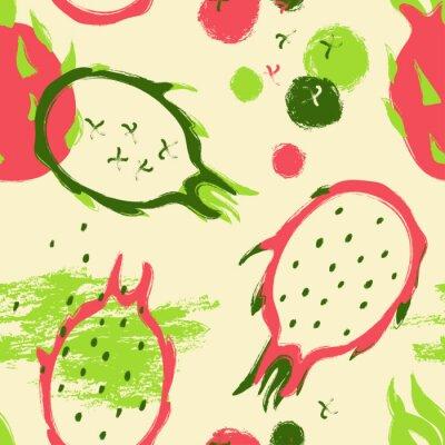 Tapeta Pędzel Grunge Dragon Fruit Seamless Pattern.