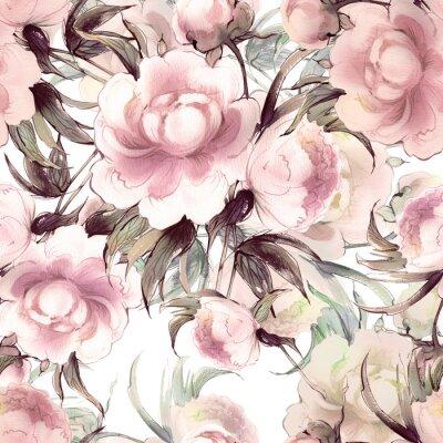Tapeta Peonies Watercolor Seamless Pattern -2